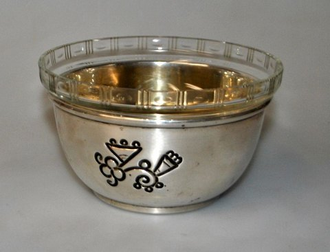 Danish art deco silver bowl with glass insert, 1920