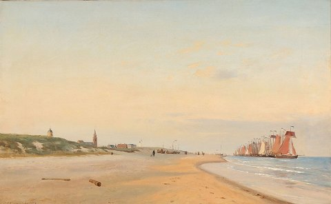 """People and fishing boats on the beach at Scheveningen"" Oil painting on canvas."