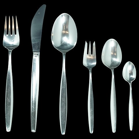 Georg Jensen, Tias Eckhoff; Cypres/Cypress silver cutlery, complete for 12 persons, 72 pieces sterling silver