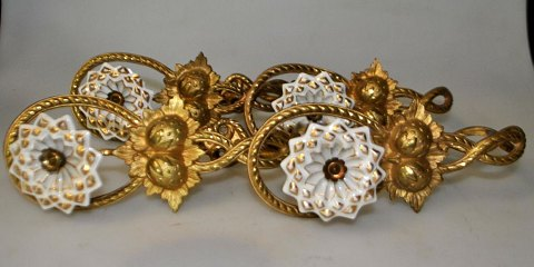 4 French curtain holder in bronze / porcelain, 19th century.