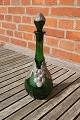 Danish Liqueur carafe of dark green glass with tin mounting and original cork