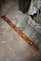 Old French wooden hooks with 11 pieces metal hooks and small old number plates. L:130cm.