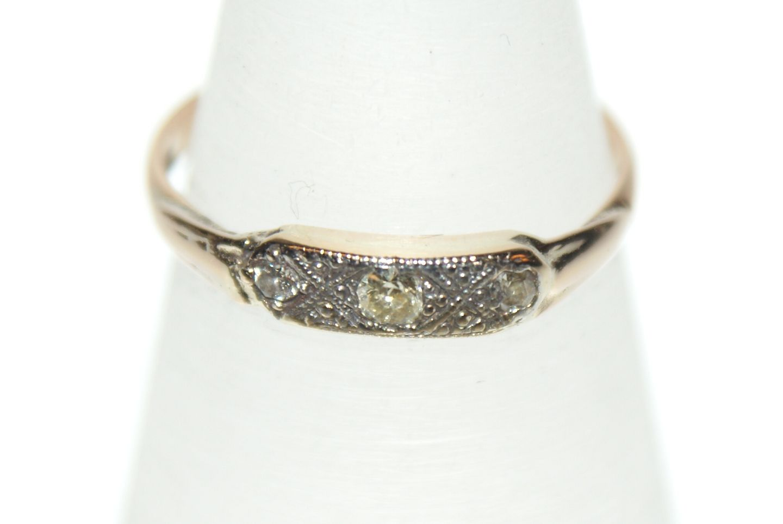 Gold ring with diamonds 14 Karat